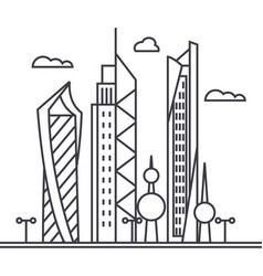 Kuwait city line icon sign vector
