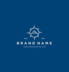 Letter a compass logo design vector
