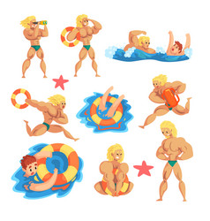 male lifeguard saving drowning people set vector image