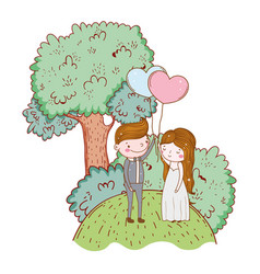 man and woman with heart balloon and tree vector image