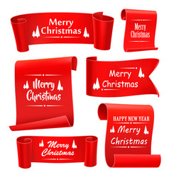Merry christmas paper banners set of five red vector