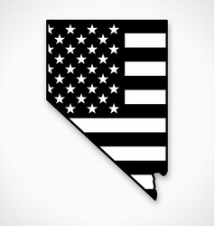 nevada state map with usa flag black and white vector image