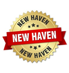 New Haven round golden badge with red ribbon vector image