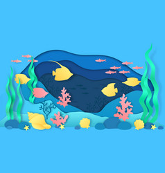 paper cut underwater aquarium with fish and vector image