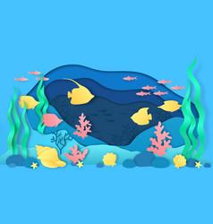 paper cut underwater aquarium with fish vector image