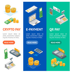 payment methods banner vecrtical set isometric vector image