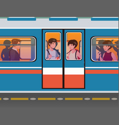 people go to the subway vector image