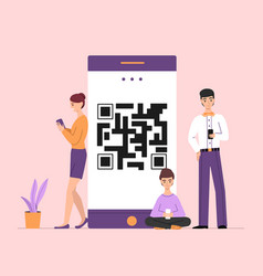 People online on qr smartphone vector
