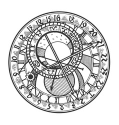 Prague astronomical clock vector
