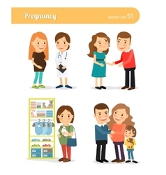 Pregnant and expecting birth baby vector