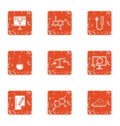 Radiochemistry icons set grunge style vector