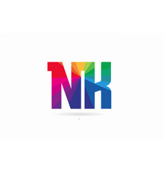 rainbow colored alphabet combination letter nk n vector image