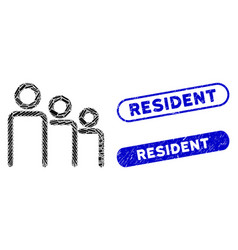 Rectangle collage trio with textured resident vector