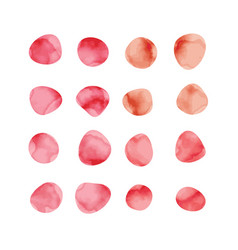 Red watercolor spots painted stained petals vector