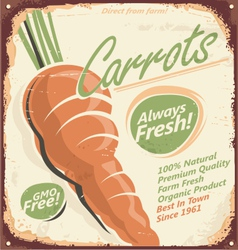 Retro metal sign for farm fresh carrots vector image