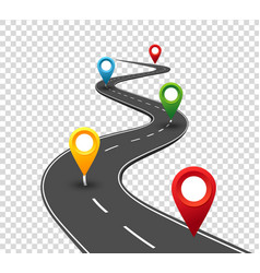 road infographics winding road to success with vector image