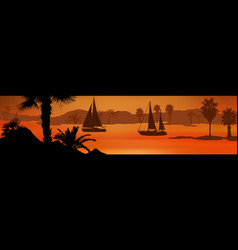 sailing boats silhouette at sea on beautiful vector image