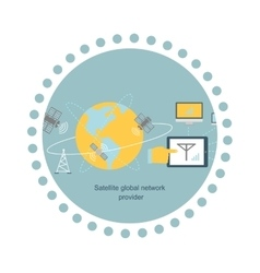 Satellite Global Network Provider Icon Flat vector
