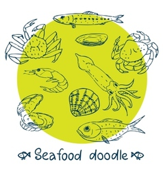 scribble series seafood set vector image