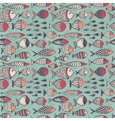 Seamless pattern with hand drawn funny fishes in vector image