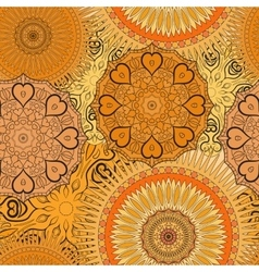 Seamless yellow pattern with oriental mandalas vector