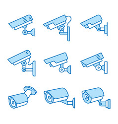 security camera flat line icon set vector image