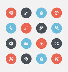 Set 16 editable repair icons includes symbols vector