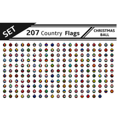 set 207 country flag christmas ball vector image
