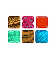 set of 6 square tiles with different vector image