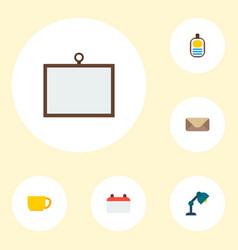set of bureau icons flat style symbols with id vector image