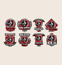 Set of colorful logos emblems ninja holding vector