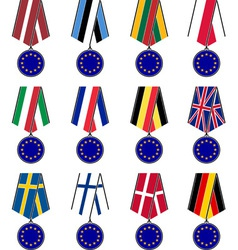 set of european medals vector image