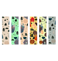 set of forest seamless pattern size 70x270 vector image