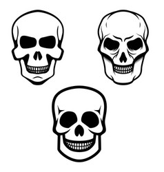 set of skull icons isolated on white background vector image