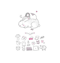 Sleeping set cartoon girl and a rabbit sweet vector