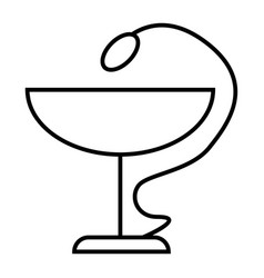 Snake and bowl thin line icon pharmacy symbol vector