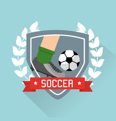 soccer leg player and ball sport emblem vector image