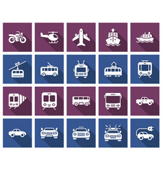 square icons set some transport facilities vector image