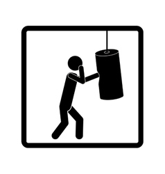 Square shape pictogram man knocking bag weight vector