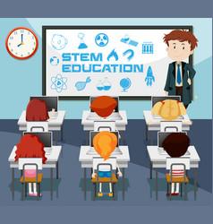 Stem education classroom scene vector