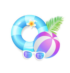 summer season exotic icons set vector image