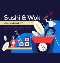 sushi and wok - flat design style colorful vector image
