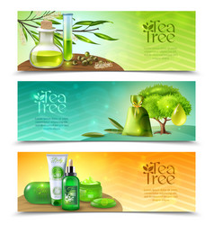 Tea tree horizontal banners vector