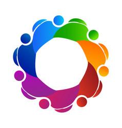 Teamwork group of working friends logo vector
