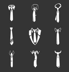 tie icon set simple style vector image