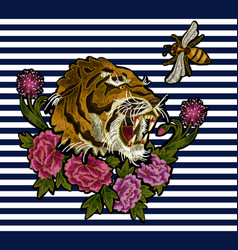 tiger bee and peony flowers embroidery vector image