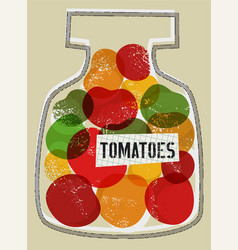 Tomatoes in jar retro grunge style vector