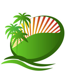 tropical island vacation symbol logo vector image