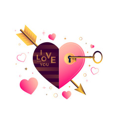 valentines day card with stylized flat heart vector image