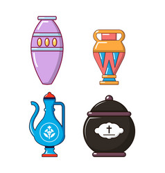 vase icon set cartoon style vector image